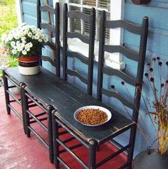 Farmhouse: porch, bench made with ladder back chairs and board to connect.