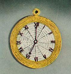 NEW! Clock Potholder crochet patterns from Kitchen Crochet, Book No. 304, originally published in 1954.