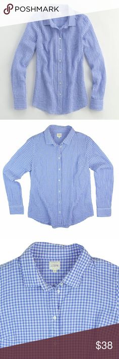 """JCREW Perfect Shirt in Periwinkle Suckered Gingham Excellent condition! This periwinkle and white Perfect Shirt in suckered Gingham from JCREW features button closures and is very light weight. Made of a cotton blend. Measures: bust: 40"""", total length: 26"""", sleeves: 25"""" J. Crew Tops Button Down Shirts"""