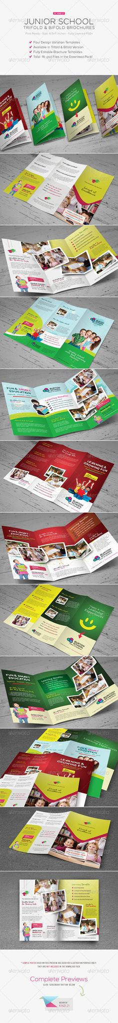 Junior School Trifold & Bifold Brochures #GraphicRiver Junior School Trifold & Bifold Brochures A complete set of brochures templates ideal for promoting your junior or primary school's next admission year or promoting your school in general and benefits of taking children to your school to parents, now you don't have to worry creating one with yourself. You can now purchase this great school brochure template pack consisting of 16 templates. From these 16 templates you will have trifold and…