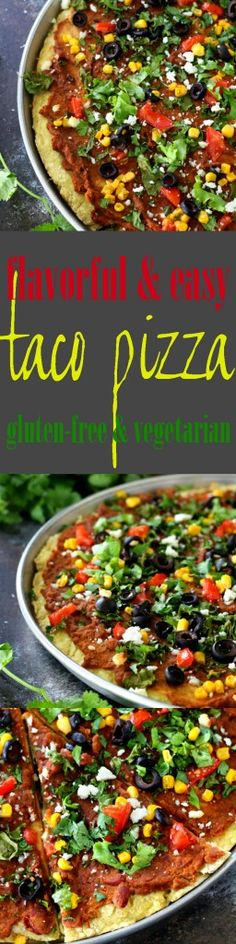 Lots of yummy flavor in this Gluten-Free Taco Pizza! All of your favorite taco ingredients combine atop a gluten-free pizza crust for an amazing dinner! Gluten Free Tacos, Gluten Free Pizza, Gluten Free Recipes, Vegan Recipes, Pizza Recipes, Real Food Recipes, New Recipes For Dinner, Dinner Ideas, Healthy Mexican Recipes