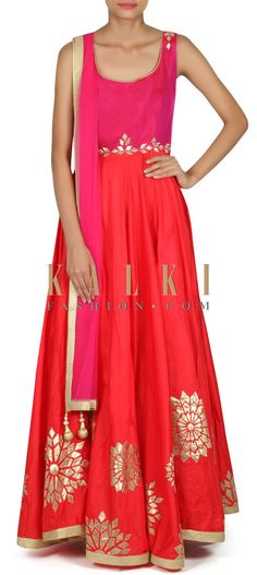 Buy this Red anarkali suit adorn in gotta patch embroidery only on Kalki