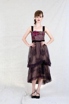 Nataya Violet Mesh Embroidered Artisan Dress L and XL | eBay