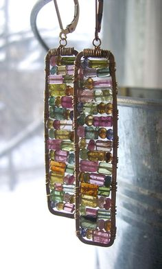 Tourmaline Earrings Stained Glass Earrings by dnajewelrydesigns