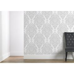 Wilko Wallpaper Damask Silver