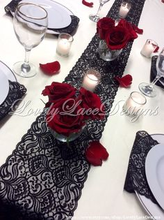 Our Favorite Things: Vintage Black Lace Table Runner – www.diyweddingsma… Unsere Lieblingssachen: Vintage Black Lace Table Runner – www. Lace Runner, Lace Table Runners, Black Lace Table, Wedding Table, Wedding Day, Wedding Dress, Wedding Flowers, Anniversary Parties, 40th Anniversary