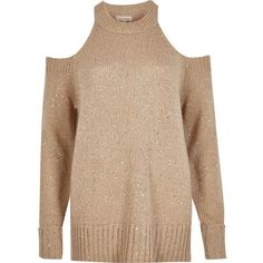 River Island Nude sequin cold shoulder sweater (105 CAD) ❤ liked on Polyvore featuring tops, sweaters, knitwear, nude, women, cold shoulder sweater, cut-out shoulder tops, cold shoulder tops, open shoulder sweater and crewneck sweaters