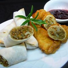 """Leftover Turkey Spring Rolls with Cranberry Sweet and Sour Dipping Sauce 