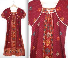 Indian Cotton Dress/ Ethnic Boho Dress/  Tribal by AnastasiaSwift, $34.00