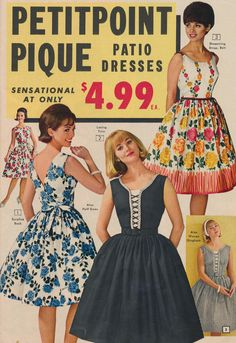 Petitpoint Pique Patio Dresses, 1963 vintage fashion style color photo print ad dress day floral black white blue yellow full skirt 60s party cocktail