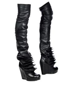 Rick Owens over the knee wedge boots