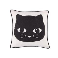 Create the ultimate minimal kids' room with the Sass & Belle Black Cat Cushion in black and cream now on sale at Cult Furniture. Mug Chat, Cute Cat Face, Animal Cushions, Cocoon, Sass & Belle, Cat Cushion, Embroidered Cushions, Soft Furnishings, Kids Furniture