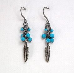 Turquoise Feather Drop Earrings by TSDesignss on Etsy