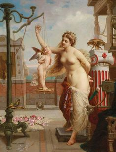 Weighing Cupid Painting by Henri Pierre Picou