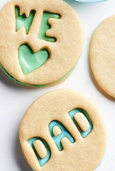 Use alphabet cookie cutters to spell out Father's Day sentiments. Tint purchased frosting Dad's favorite colors and sandwich in between cookies after baking for an extra-special treat. Best Sugar Cookie Recipe, Sugar Cookie Dough, Sugar Cookies, Cookie Recipes, Alphabet Cookie Cutters, Alphabet Cookies, Cake Pops, Fathers Day Cupcakes, Donuts