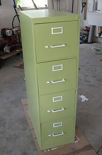 spray paint the filing cabinet (could also be used in a home)