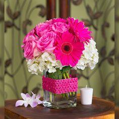 Harley – Pink Roses and Gerbera Daisies with Hydrangeas - Modern Fuschia Wedding Flowers, Daisy Wedding, Fake Flowers, Pink Flowers, Beautiful Flowers, Pink Roses, Flowers Garden, Small Flowers, Gerbera Flower