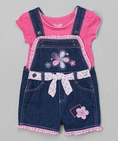 Pink Top & Blue Denim Flower Shortalls - Toddler & Girls