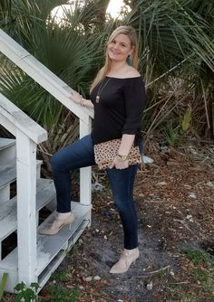 Date night look. Off the shoulder black top. Leopard clutch. Fabulouslyoverdressed.com