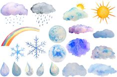 Hand painted watercolor clipart weather sun moon rain drops instant download scrapbook watercolor cards wedding invitations
