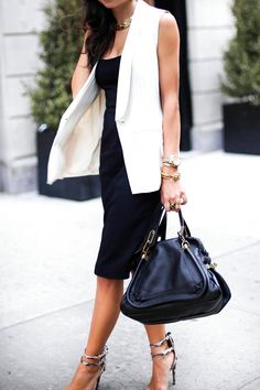 Black, White Vest * Chloe Bag.