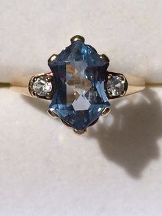 Vintage Blue Spinel Ring with white Spinel by ScotchStreetVintage