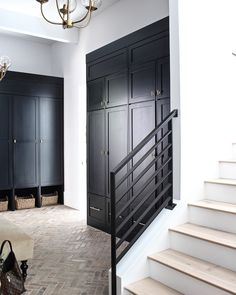 The Forest Modern mudroom is a beauty to be seen with black shiplap walls, black cabinets and beautiful brick herringbone floors. Home, Brick Flooring, Flooring, New Homes, House, Mudroom Flooring, Mudroom Design, House Interior, Doors Interior
