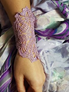 Items similar to Light purple mandala bracelet, lavender lace cuff, bridesmaid gift, lilac jewelry on Etsy Lace Cuffs, Lace Gloves, Mandala Bracelet, Crochet Doily Rug, Unique Crochet, Blue Pearl, Organza Gift Bags, Dainty Jewelry, Beaded Lace