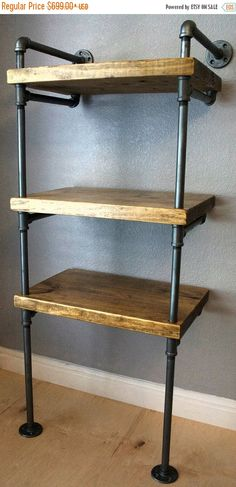 Industrial Media Stand, Pipe Shelving Unit- Media storage, Industrial Furniture, Industrial bookshelf, bookcase w/optional reclaimed wood Industrial Bookshelf, Vintage Industrial Furniture, Industrial House, Industrial Interiors, Industrial Style, Industrial Pipe, Industrial Closet, Industrial Windows, Industrial Bedroom