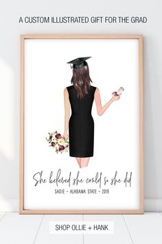 Shop Ollie + Hank for unique graduation gifts for girls. Our graduation print personalized with hand illustrated custom portrait and message is a unique heartfelt gift for a graduate. Graduation Gifts For Best Friend, Unique Graduation Gifts, High School Graduation Gifts, College Graduation Gifts, College Gifts, Graduation Presents, Gifts For College Graduates, Daughter Graduation Quotes, Graduation Gift For Boyfriend