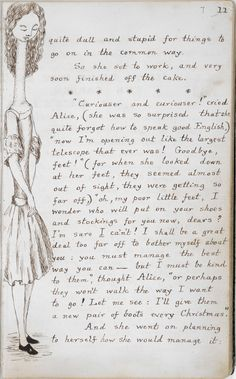 alice's adventures under ground - handwritten and illustrated page from lewis carroll's original manuscript, 1862