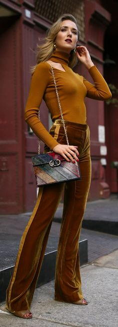 Click for outfit details! Marigold cut out long sleeve turtleneck, velvet gold tuxedo striped wide leg trousers, multi jewel toned handbag and sculptural gold earrings {ALC, Tory Burch, Veronica Beard, Amber Sceats, fall winter 2017 trends, fall trends, classic style, velvet, marigold}