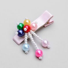 baby hair clips - dangling beads hair clip - baby, toddler, girl, children, purple, via Etsy.
