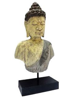 Busto de Buda Rústico em Madeira 45cm - Arte de Bali