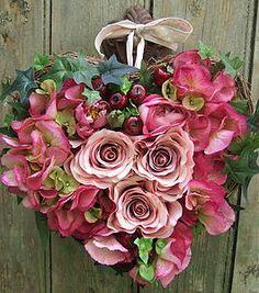 Rose, hydrangea & cherry heart