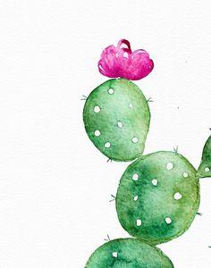 Cactus print - Printable cactus art - Botanical prints - Cactus poster - Watercolor prints - Cactus wall art - Digital art - Cactus flowers - Lisa E. Cactus House Plants, Cactus Wall Art, Indoor Cactus, Cactus Flower, Flower Art, Cactus Cactus, Watercolor Cactus, Watercolor Print, Cactus Painting
