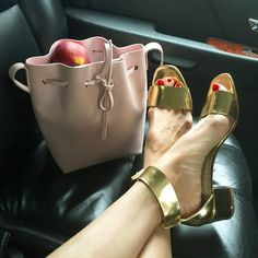 "@evachen212's photo: ""Heel reimmersion program: day 1! Blocky sixties heels by @aglshoes (link in bio for more information). And @mansurgavriel bucket in honor of their big @cfda win last night """
