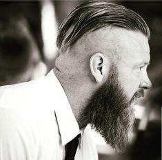 Mens Hairstyles Fade, Haircuts For Men, Men's Haircuts, Fohawk Haircut, Viking Haircut, Beard Trend, Medium Length Hair Men, Faded Hair, Slicked Back Hair