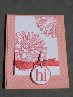 "Jess B. . . Creative ""Card""- iology: Stampin' Up! Regarding Dahlias in Crisp Cantelope & Calypso Coral"