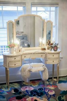 Beautiful Vanity!  i want a different stool or chair than this one.