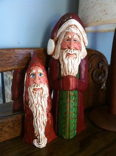 Old World Santas, hand carved and painted by Elizabeth Brown, Liverpool, NS.