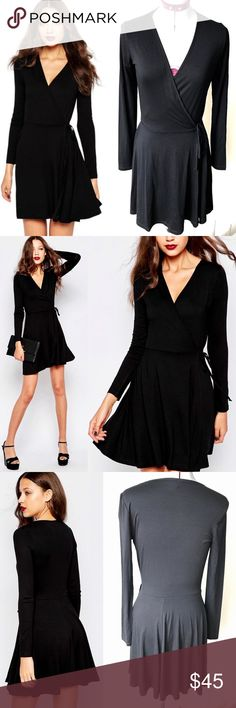 NWOT ASOS Wrap Tea Dress With Long Sleeve PRODUCT DETAILS Dress exclusive to the ASOS TALL collection Soft-touch jersey  Deep V-neckline  Wrap front design  Self tie fastening  Soft pleating to skirt  Regular fit - true to size Machine wash 95% Viscose, 5% Elastane ASOS Dresses Long Sleeve