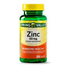 Spring Valley Zinc 50 mg Immune Health Support 200 Caplets Nigella Sativa, Zinc Supplements, Nutritional Supplements, Spring Valley Supplements, Zinc Tablets, All Vitamins, Skin Vitamins, Prenatal Vitamins, Vitamins