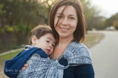 Down In My Heart Joy! Didymos Dark Blue and White Indio cotton ring sling slate rings