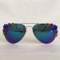 Aurora - Reflective Blue Purple Metal Flowers Floral Embellished Glasses Sunglasses by PinksAndMinks on Etsy https://www.etsy.com/listing/197332159/aurora-reflective-blue-purple-metal