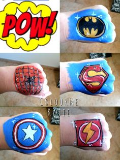 Superhero face painting cheek small designs, spiderman, batman, superman, flash, Captain America