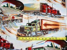 Semi trucks on pinterest peterbilt trucks and trailers for Little blue truck fabric
