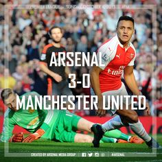 Arsenal 3-0 Manchester United. Sun 4th Oct 16.00 Emirates Stadium. Arsenal were looking for their first home victory over United since May 2011, and knew that a two-goal win would propel them to second in the table.