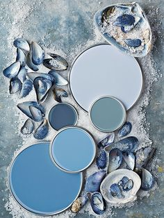 Rich blue paint colors with gray undertones that work beautifully with darker wood tones and black. Names of paint colors on link. BHG