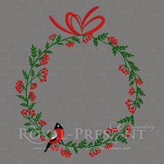 Machine Embroidery Design - Christmas wreath with birds and ashberry